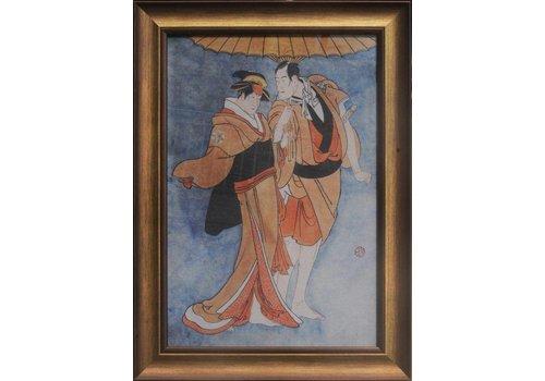Fine Asianliving Tableau sur Toile Décoration Murale Japonais Encadré japonais Couple L36xH58cm