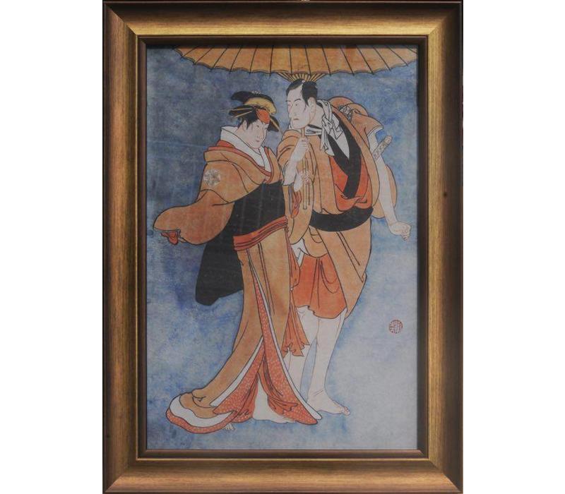 Japanse Schilderij met Lijst Japanse koppel B36xH58cm
