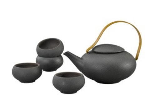 Fine Asianliving Oosterse Thee Set Porselein Handgemaakt Modern Matte Zwart 5pcs