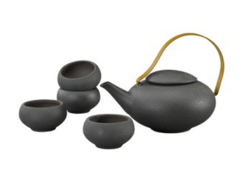Fine Asianliving Oriental Tea Set Porcelain Handmade Modern Matte Black 5pcs