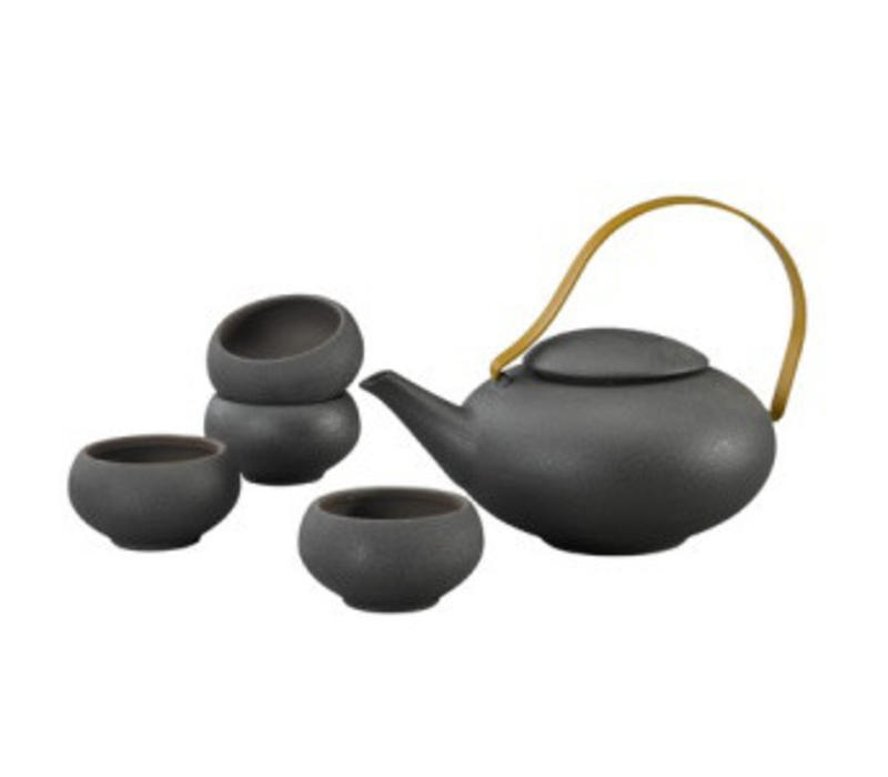 Oriental Tea Set Porcelain Handmade Modern Matte Black 5pcs