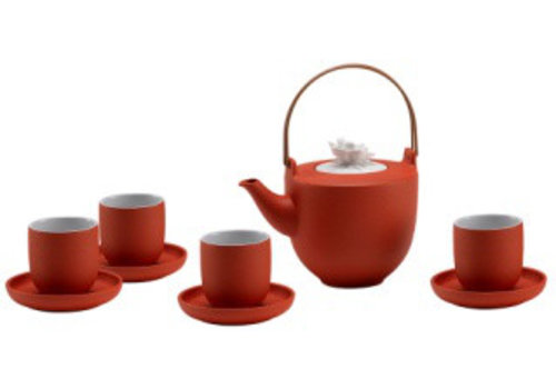 Fine Asianliving Oriental Tea Set Porcelain Handmade Modern Matte Orange 5pcs