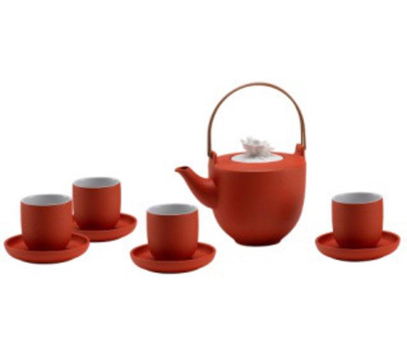Oriental Tea Set Porcelain Handmade Modern Matte Orange 5pcs