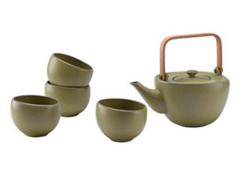 Fine Asianliving Fine Asianliving Oriental Tea Set Porcelain Handmade Modern Matte Olive 5pcs