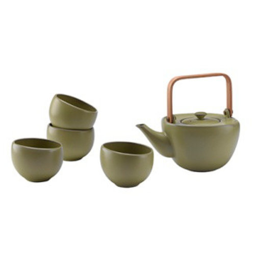 Fine Asianliving Oriental Tea Set Porcelain Handmade Modern Matte Olive 5pcs
