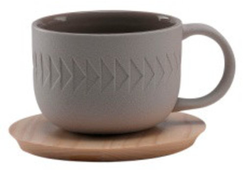 Fine Asianliving Light Gray Tea Cup White Saucer