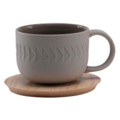 Light Gray Tea Cup White Saucer