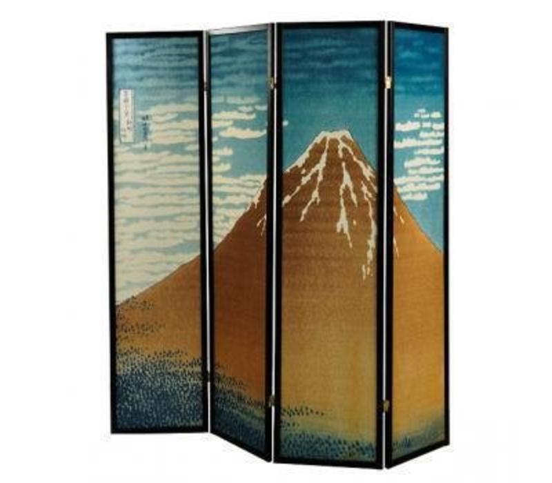 Séparateur de pièce japonais 4 panneaux Kumo Yama (L 160 cm x H 180 cm)