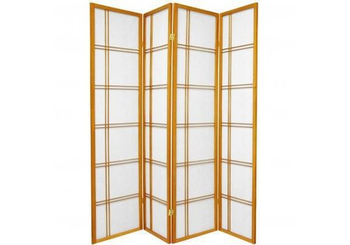 Fine Asianliving Japanese Room Divider Privacy Screen Rice-paper 4 Panel - Double Cross Honey