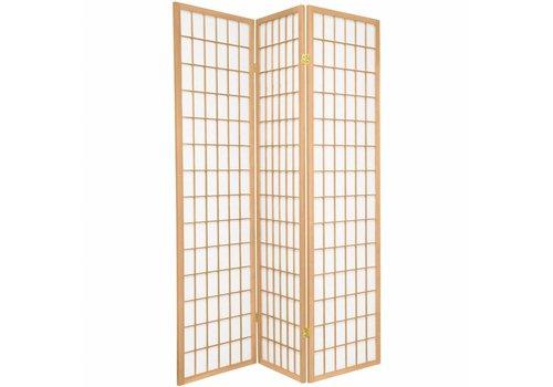 Fine Asianliving Biombo Separador Japonés A135xA180cm 3 Paneles Shoji Papel de Arroz Natural - Tana