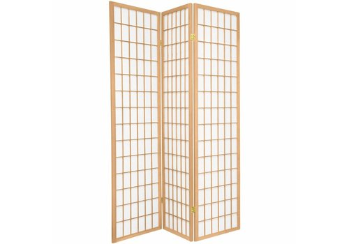 Fine Asianliving Japanische Paravent Raumteiler Trennwand B135xH180cm 3-teilig Shoji Reispapier Naturel