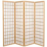 Japanischer Paravent Raumteiler Trennwand B180xH180cm 4-teilig Shoji Reispapier Naturell