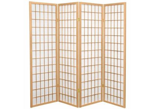 Fine Asianliving Biombo Separador Japonés A180xA180cm 4 Paneles Shoji Papel de Arroz Natural - Tana