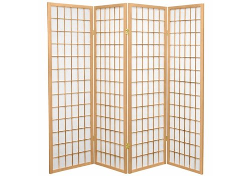 Fine Asianliving Japanese Room Divider 4 Panels W180xH180cm Privacy Screen Shoji Rice-paper Natural - Tana