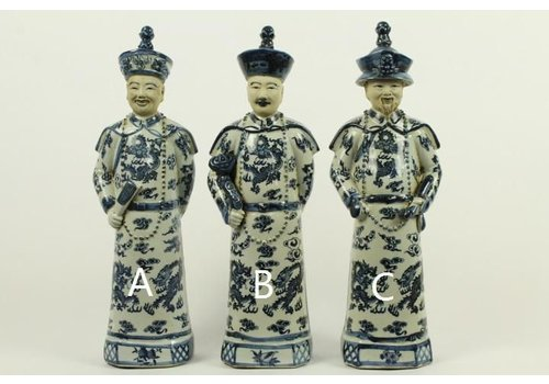 Fine Asianliving Chinese Emperor Porcelain Figurine Three Generations Qing Dynasty Statues Blue Grandfather - Longevity and Wisdom C