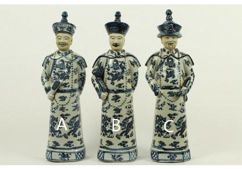 Fine Asianliving Chinese Keizer Porselein Beeld Handbeschilderd Grootvader - Lang Leven en Wijsheid C BW