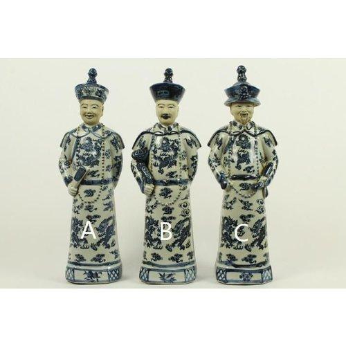 Chinese Emperor Porcelain Statue Handpainted Large Father - Lang Leven en Wijsheid C BW