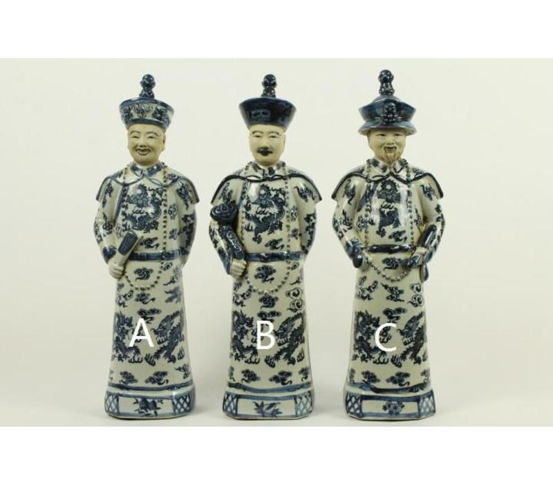 Chinese Keizer Porselein Beeld Handbeschilderd Grootvader - Lang Leven en Wijsheid C BW