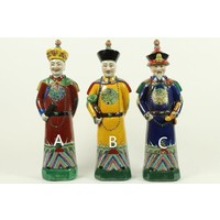 Chinese Emperor Porcelain Figurine Three Generations Qing Dynasty Statues Red Son - Luck A