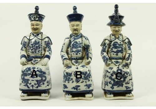 Fine Asianliving Chinese Emperor Porcelain Statue Handpainted BW Father - Liefde B