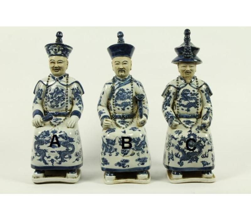 Chinese Emperor Porcelain Figurine Three Generations Qing Dynasty Statues - Love B
