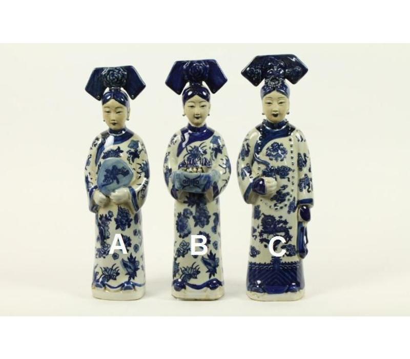 Chinese Keizerin Porselein Beeld Handbeschilderd BW Wijn B