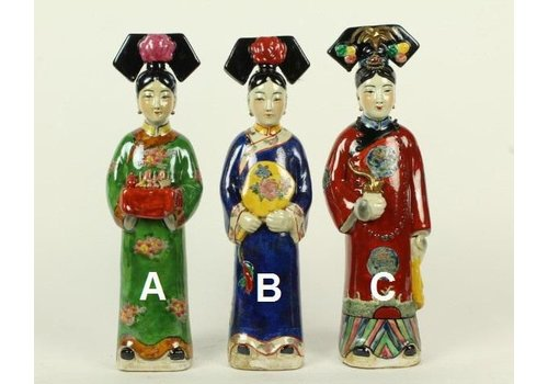 Fine Asianliving Chinese Keizerin Porselein Beeld Handbeschilderd C. Pijp Rood