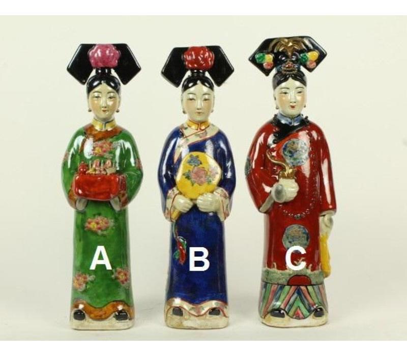 Chinese Keizerin Porselein Beeld Handbeschilderd C. Pijp Rood