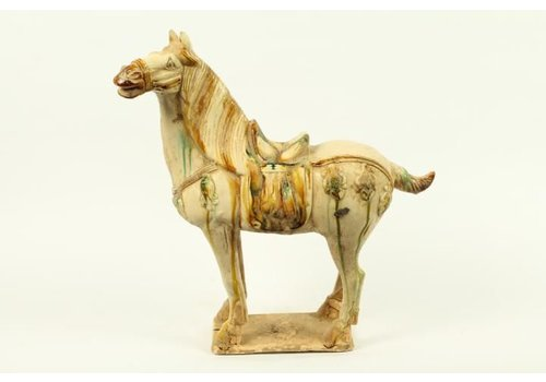 Fine Asianliving Chinese Horse Pottery white left