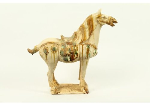 Fine Asianliving Chinese Horse Pottery white right