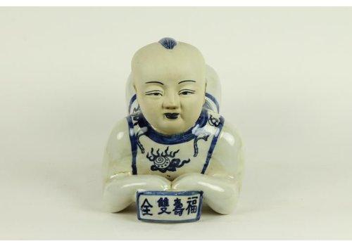 Fine Asianliving Porseleinen Kussen Boy Blauw Wit