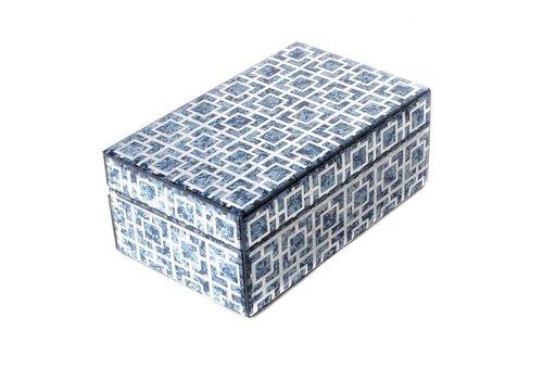 Fine Asianliving Sieradendoos Blue Marble Klein
