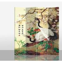 Fine Asianliving Kamerscherm Scheidingswand 4 Panelen Kraanvogel