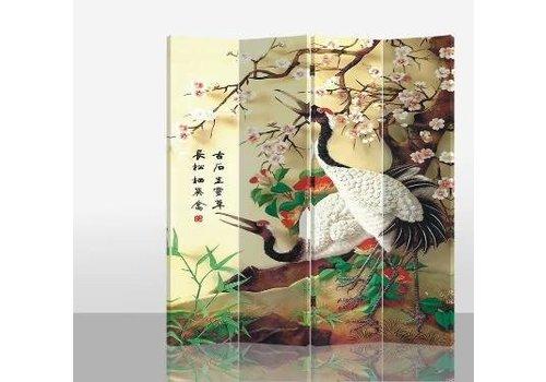 Fine Asianliving Fine Asianliving Chinees Kamerscherm Oosters Scheidingswand 4 Panelen Kraanvogels L160xH180cm