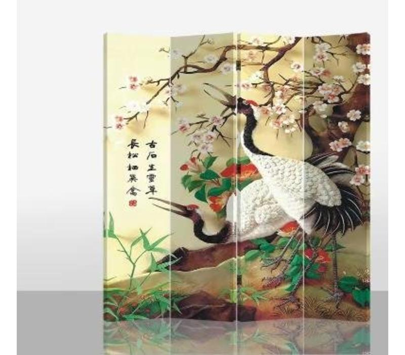 Chinees Kamerscherm 4 Panelen Kraanvogel