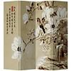 Fine Asianliving Chinees Kamerscherm 4 Panelen Vogel met Witte Bloesem