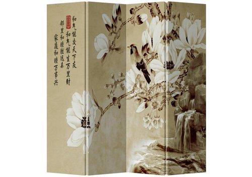 Fine Asianliving Fine Asianliving Chinees Kamerscherm Oosters Scheidingswand 4 Panelen Witte Bloesems L160xH180cm