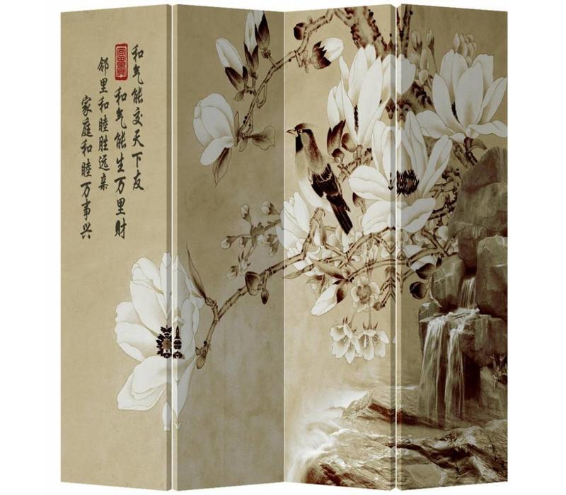 Chinees Kamerscherm 4 Panelen Vogel met Witte Bloesem