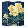 Fine Asianliving Fine Asianliving Room Divider Privacy Screen 4 panel Yellow Peonies L160xH180cm