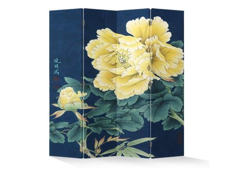 Fine Asianliving Chinees Kamerscherm Oosters Scheidingswand B160xH180cm 4 Panelen Gele Pioenen