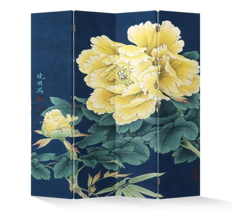 Chinees Kamerscherm Oosters Scheidingswand 4 Panelen Gele Pioenen L160xH180cm