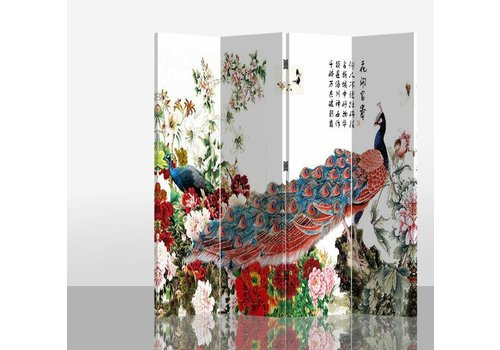 Fine Asianliving Fine Asianliving Chinees Kamerscherm Oosters Scheidingswand 4 Panelen Rode Pauw met Bloemen L160xH180cm