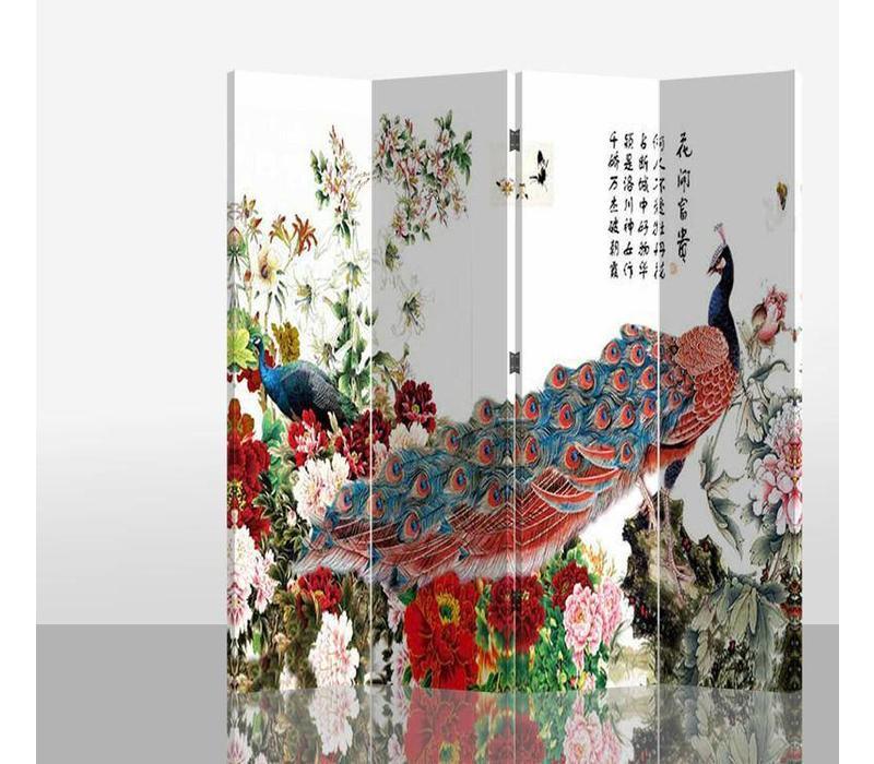 Chinees Kamerscherm 4 Panelen Rode Pauw met Bloemen