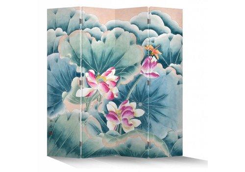 Fine Asianliving Paravento Divisori in Tela Cinese L160xA180cm 4 Pannelli Loti Rosa e Libellula