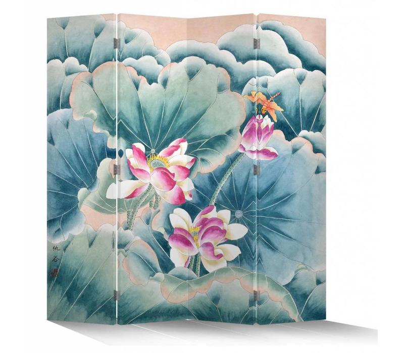 Chinesischer Raumteiler Trennwand B160xH180cm 4-teilig Rosa Lotus und Libelle
