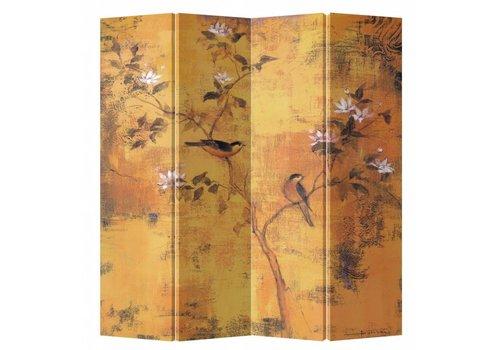 Fine Asianliving Biombo Separador de Lienzo 4 Paneles Flores Vintage Anch.160 x Alt.180 cm
