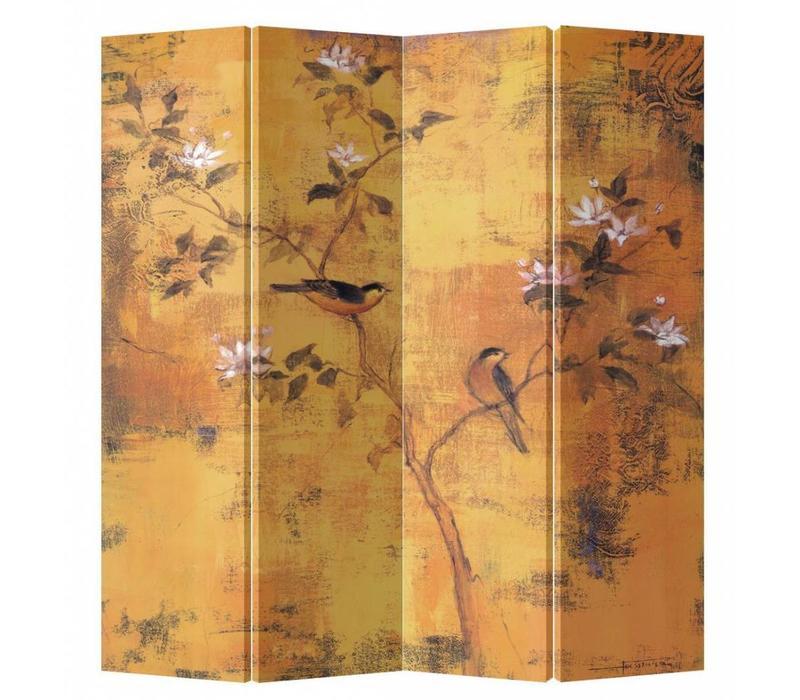 Biombo Separador de Lienzo 4 Paneles Flores Vintage Anch.160 x Alt.180 cm