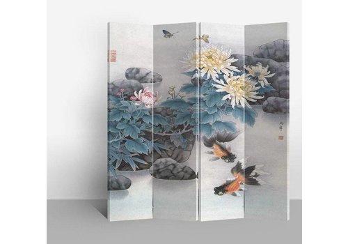Fine Asianliving Fine Asianliving Chinees Kamerscherm Oosters Scheidingswand 4 Panelen Vijver met Vis L160xH180cm