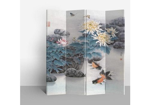 Fine Asianliving Fine Asianliving Chinese Oriental Room Divider Folding Privacy Screen 4 Panel Lake White Fish L160xH180cm