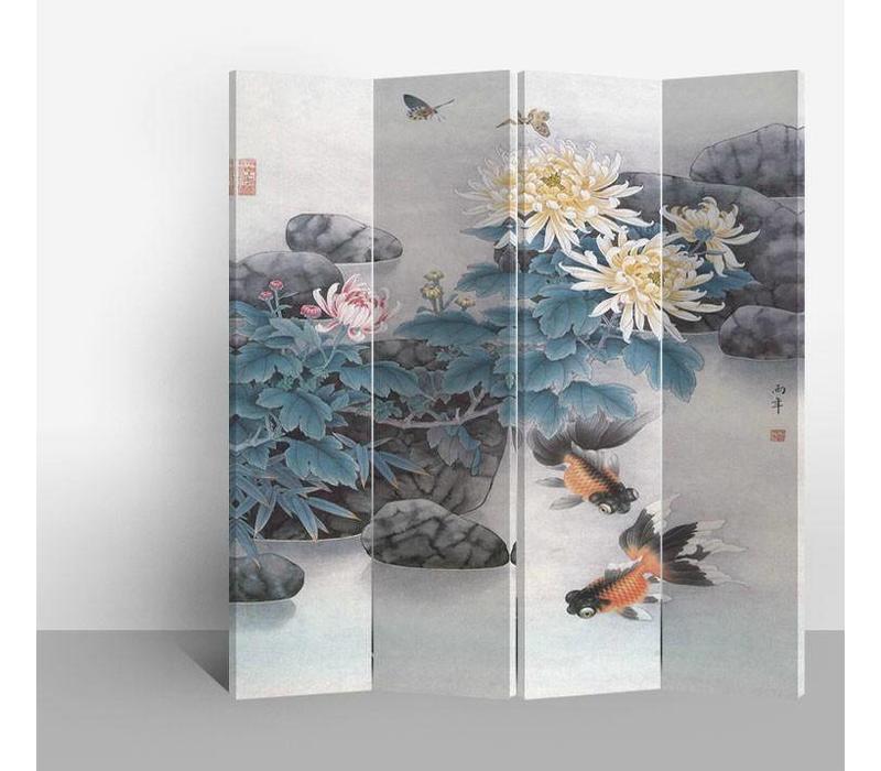 Fine Asianliving Chinees Kamerscherm Oosters Scheidingswand 4 Panelen Vijver met Vis L160xH180cm